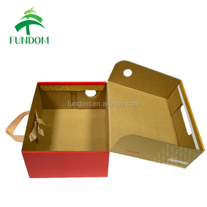 custom design printing new fashion E flute baby shoe box packaging with ribbon handle