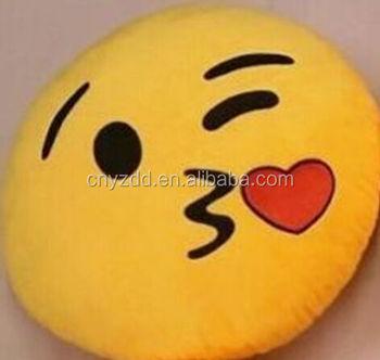 Wholesale Emoji Pillow/stuffed Emoji Pillows Kiss Love Heart Face Yellow  Round Cushion Pillow - Buy Wholesale Emoji Pillow,Stuffed Emoji Pillows  Kiss