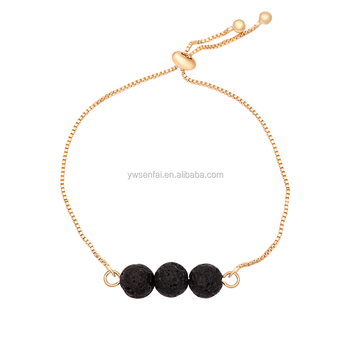 Yiwu Manufacturer Gold Extra Long Thin Chain Three Lava Stone Bracelet Whole For Women