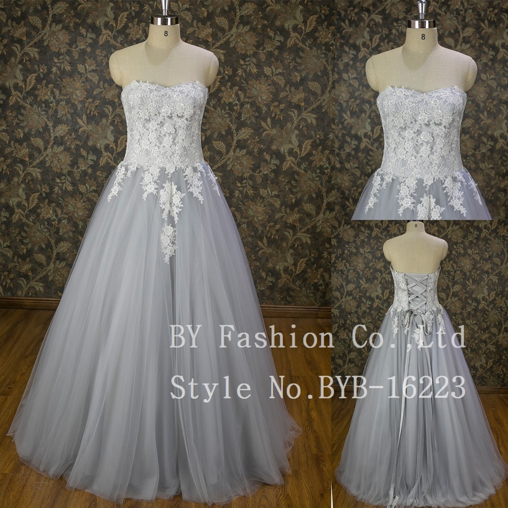 Couture Designer Wedding Gowns Elegant Grey Lace Appliqued Ball Gown ...