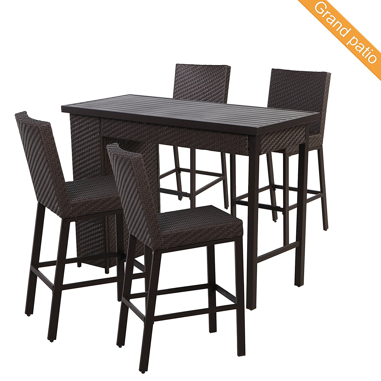 Get Quotations · Grand Patio 5 PCS Outdoor Wicker Bar Set,  Weather Resistant Patio Bar Set With