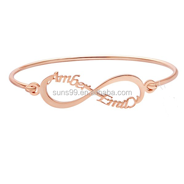 Stainless Steel Infinity Symbol Name Personalized Open Bangle