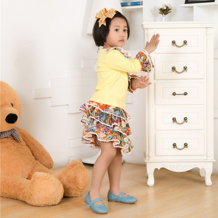 Wholesale baby clothes cotton frock designs baby girls' clothing set