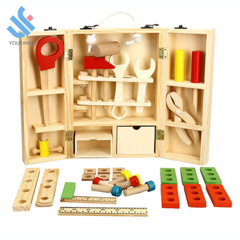 YF-J086 wooden tool toys 43pcs DIY construction toolbox pretend role play toy green wooden portable tool box tool set for kids