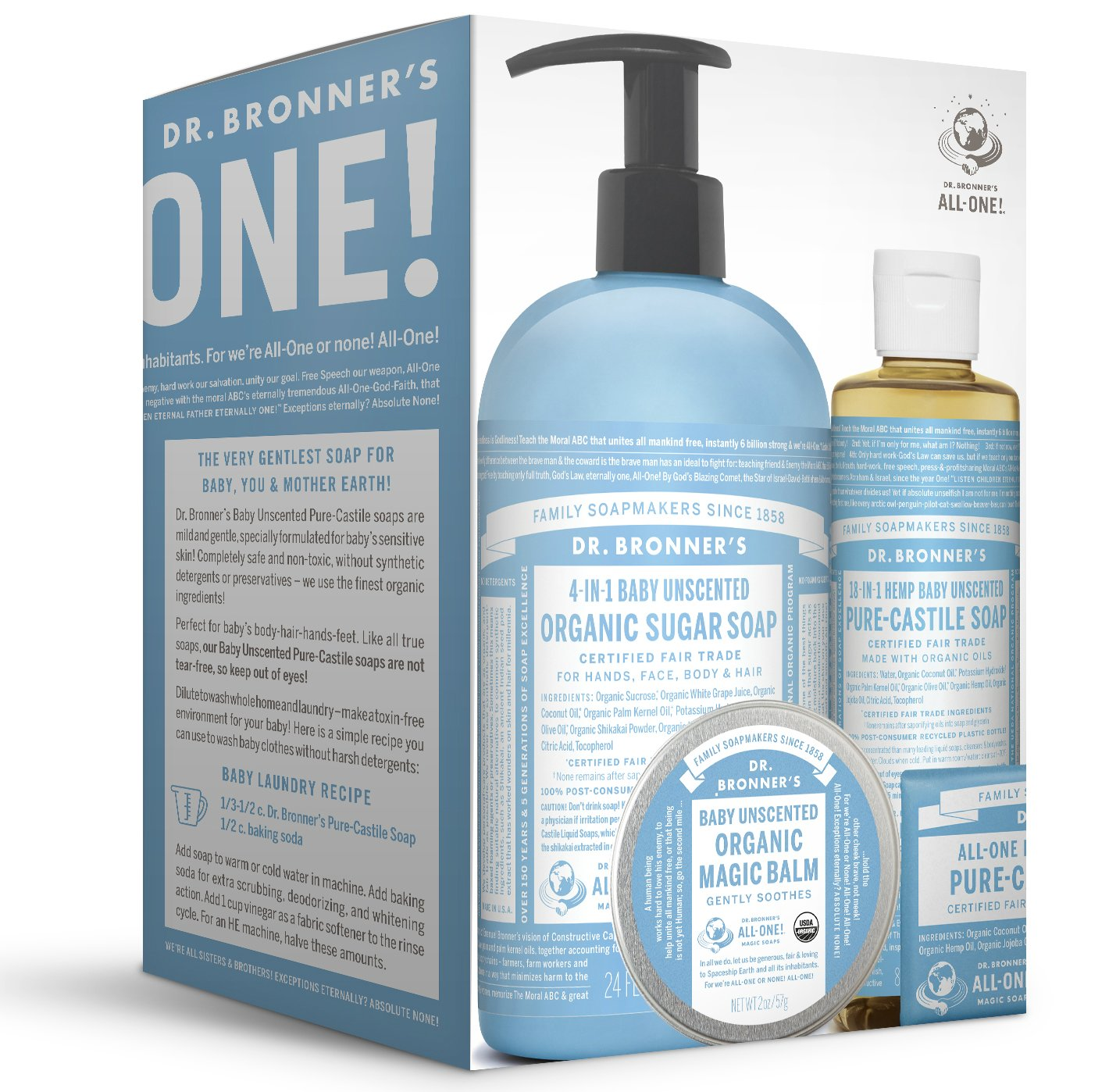 Dr. Bronner's Baby Unscented Gift Set - Pure-Castile Liquid and Bar Soaps, Organic Magic Balm, and 4-in-1 Organic Sugar Pump Soap
