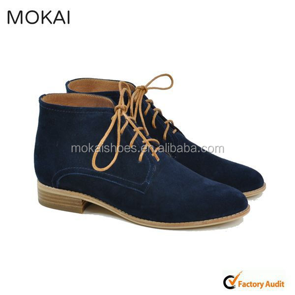 MK031-1DK Navy suede leather oxford shoes, handmade lace-up moccasin shoe for ladies 2015