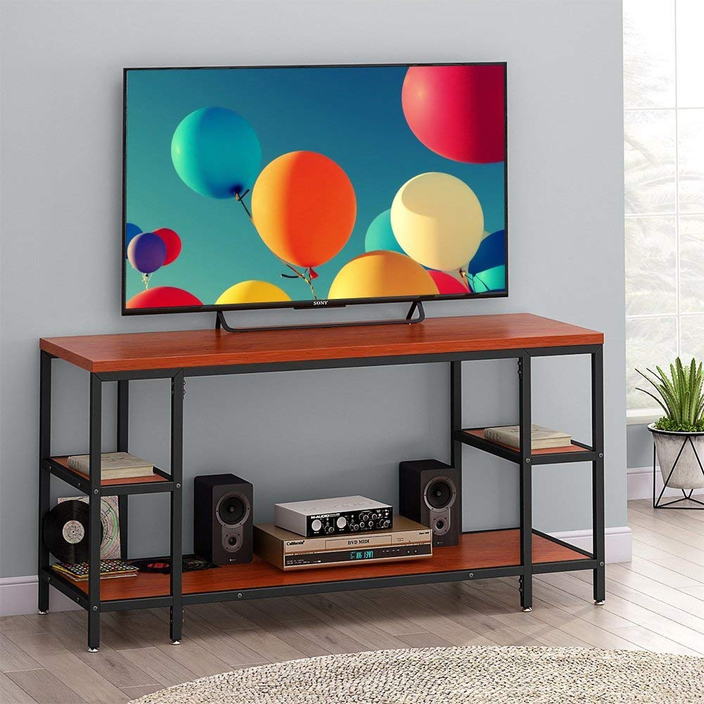 """LITTLE TREE TV Stand, 60"""" Entertainment Center with Shelves, Large 3-Tier Media Console Table for Living Room, Heavy Duty Metal Frame & Wood, Oak (Oak) (Teak.)"""