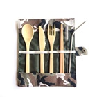 Travel Utensil Reusable Bamboo Flatware Knife Fork Spoon Chopsticks and Straws Bamboo Cutlery Set
