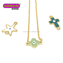 Wholesaler metal alloy Lucky clover Evil eye charm connect necklace custom jewelry manufacturer
