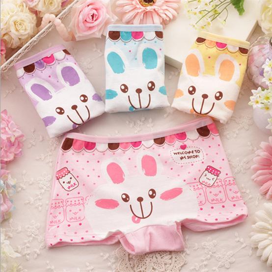 2015 Cute cartoon bunny children cotton underwear baby child girl underwear boxer briefs kids panties wholesale