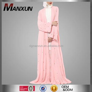 New Beads Turkish Islamic Clothing Wholesale Pink Elegant Dubai Kimono Front Open Abaya Long Sleeve Muslim Abaya In India