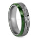 Seymchan Meteorite Ring Wedding Band With Green Box Elder Wood Mens Titanium Ring With Wood