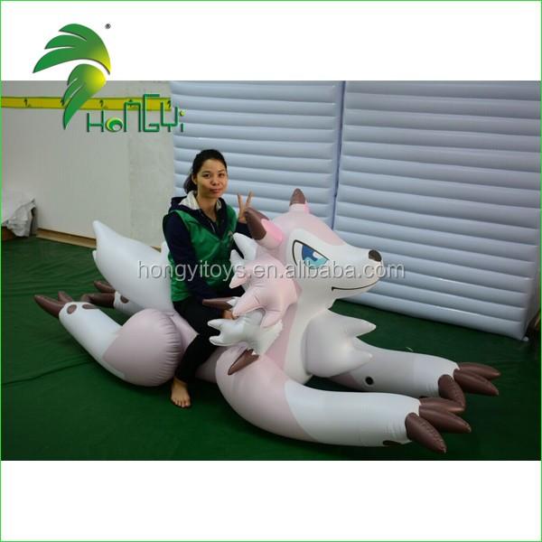 Hongyi New Design Animal Wolf Cartoon , Inflatable Lying Wolf Toy , Inflatable Pink Wolf Cartoon Toy For Sale