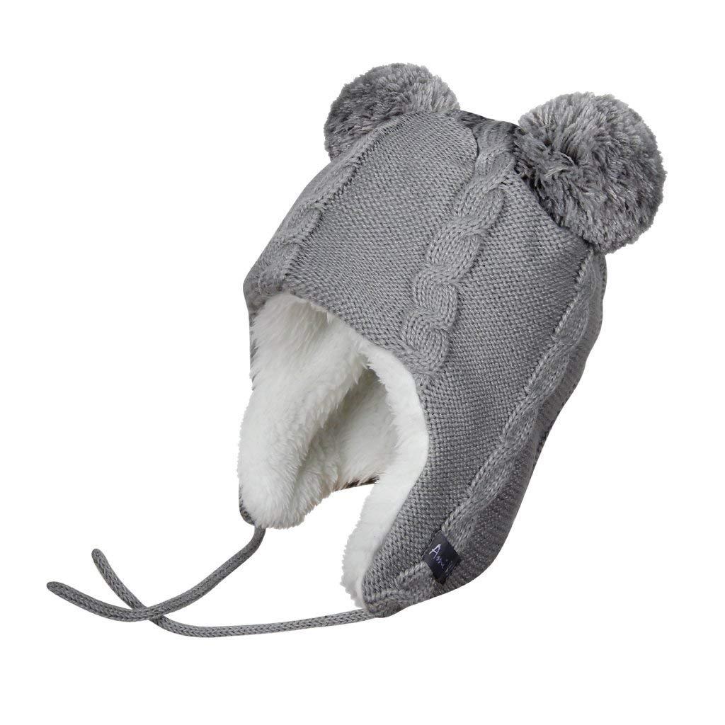166742df4b2 Get Quotations · Ami Li tots Knit Winter Hat Solid Color Earflaps Beanie