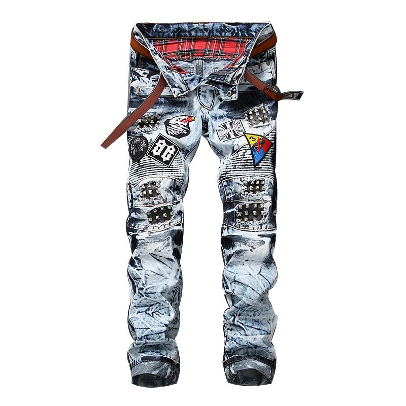 Fit Con Bordado Denim Motorista Jeans Los Nuevo Estilo Parche Para BqwxOv