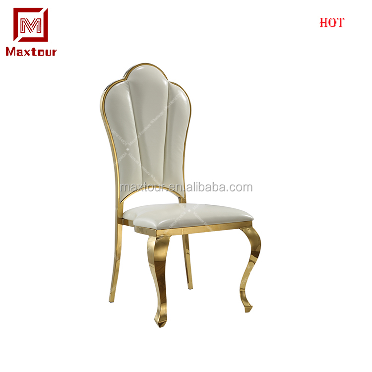 Made in china stacking high back golden metal white PU hotel buffet party event dining chair