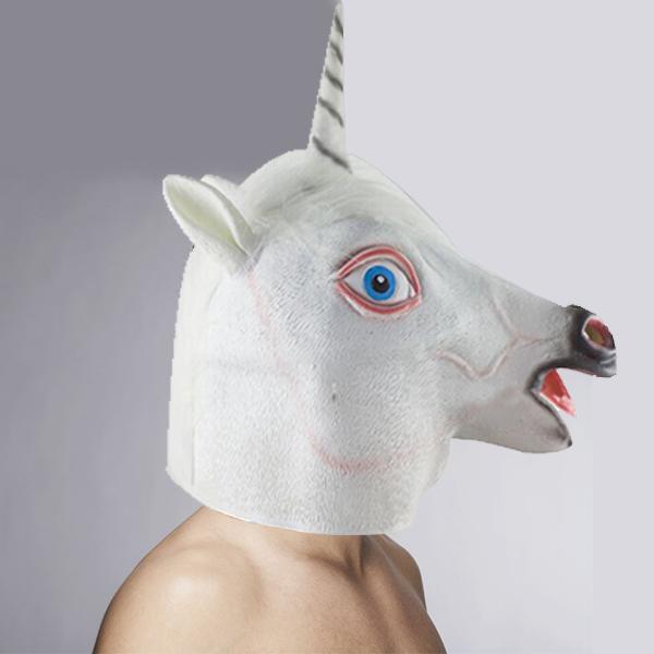 Halloween costume cosplay accessoires latex tête de cheval masque