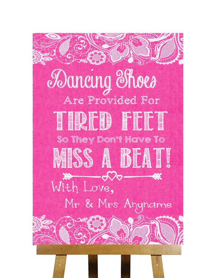 d7816aeab Get Quotations · Bright Pink Burlap   Lace Effect Flip Flops Sandals For Tired  Feet Wedding Sign