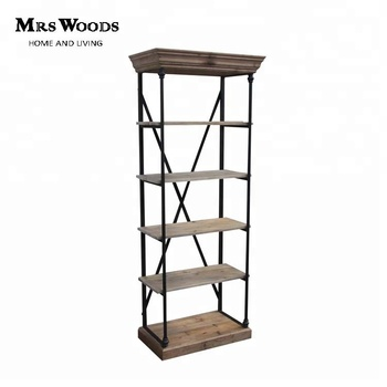 industrial style wood book shelf metal frame bookcase