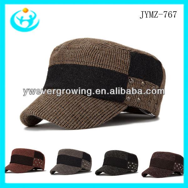3e7d5d7b7531d moda para hombre de moda sombrero del ejército cap remache diseño gorra  militar y la tapa
