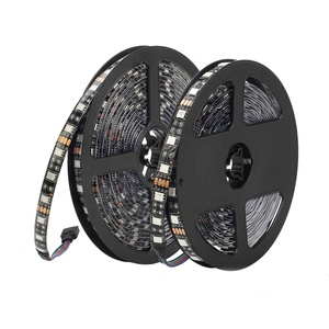 OUMUKALED 16.4ft Black PCB Waterproof 5050 LED Strip 5M 300LEDs 12V Flexible LED tape for LED Whips flags,Off road lighting