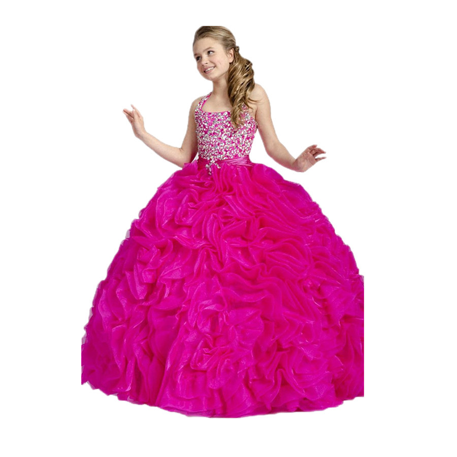 Cheap pink sparkly ball gown find pink sparkly ball gown deals on get quotations crystal bead halter sparkly rhinestone ball gown bright pink girl prom flower girl dresses full length mightylinksfo