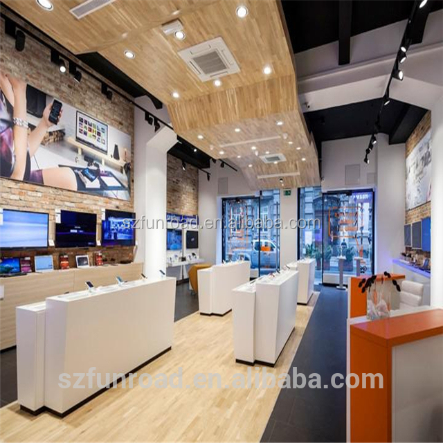 2018 cell phone retail store fixtures displays interior table design from Chinese manufacturer