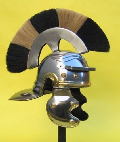 Medieval Roman Centurion Helmet Armor SCA W/ Plume Gladiator Costume Trojan Football Full-Size Metal Replica Roman Centurion Helmet Helmet Roman Centurian Armor Crested Roman Officers Helmet
