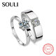 Factory Price CZ Diamond Couple Ring, S925 Sterling Silver Gemstone Wedding Ring Set