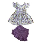 High quality baby girls boutique outfits wholesale children girl summer clothes sets kids knit cotton clothing