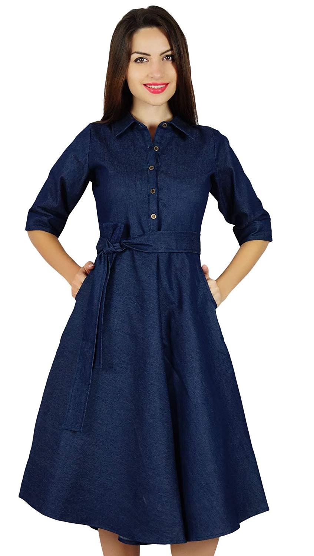 b21d07acd06a Get Quotations · Bimba Womens Blue Denim Shirt Dress With Pockets 3 4  Sleeve Casual Midi Dresses