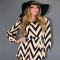 2016New Women Summer Autumn Dress Formal Elegant OL Office Dress Loose Casual wearing Vestidos waves printing