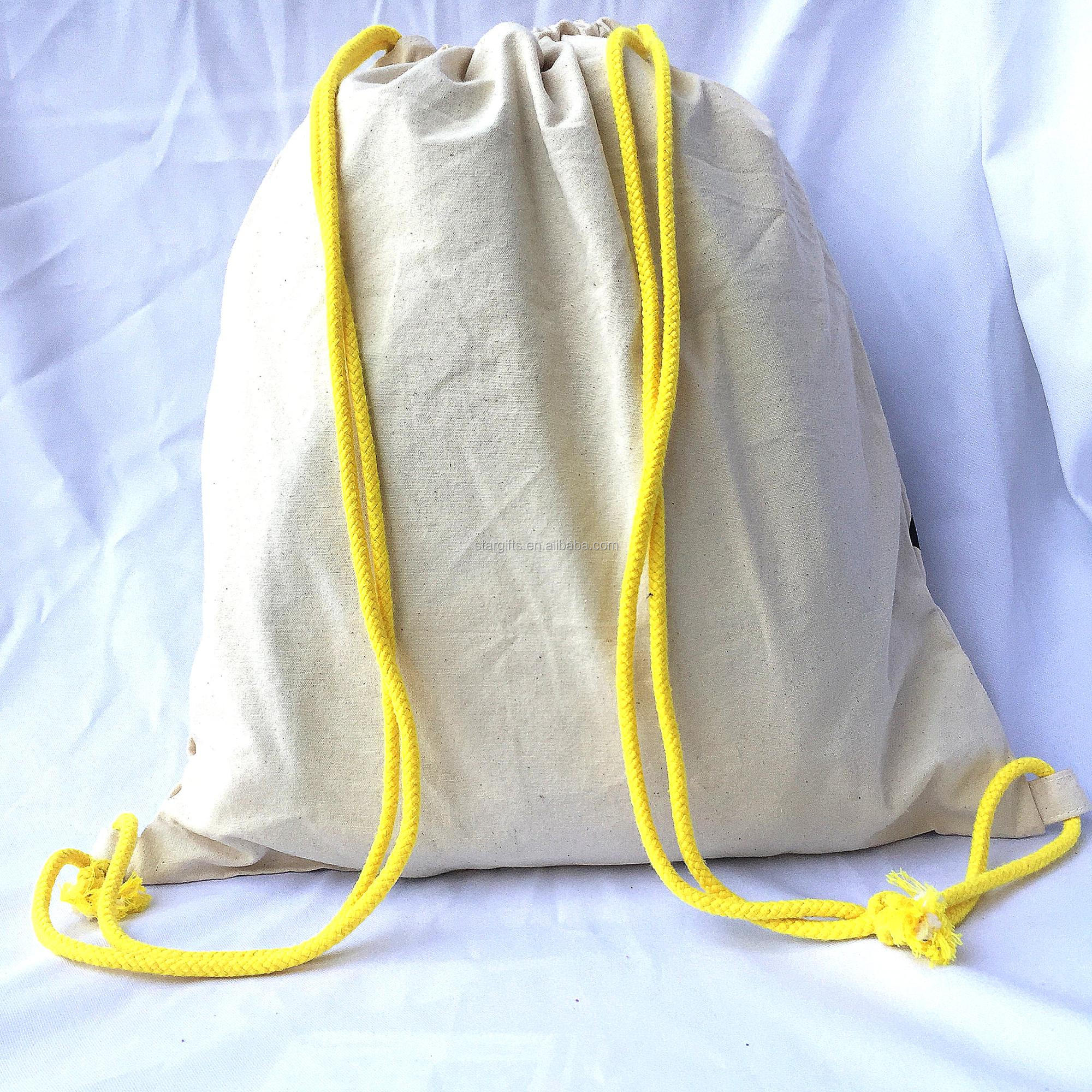 Custom Easy Carry Light Travel Drawstring Closure 12Oz Canvas Backpack