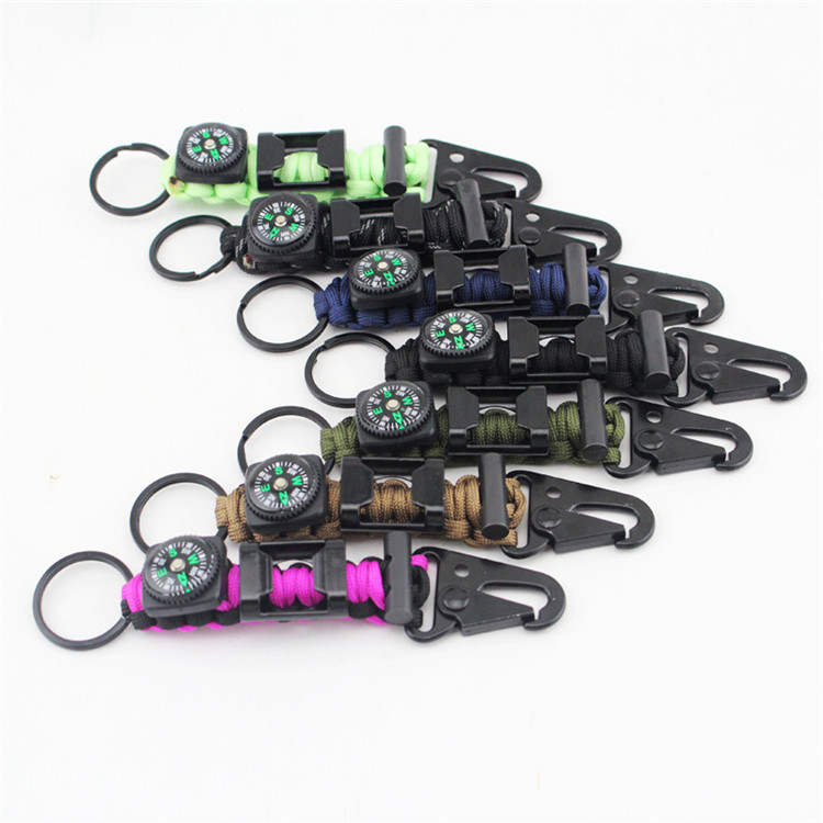 Hot selling survival carabiner keychain paracord with compass