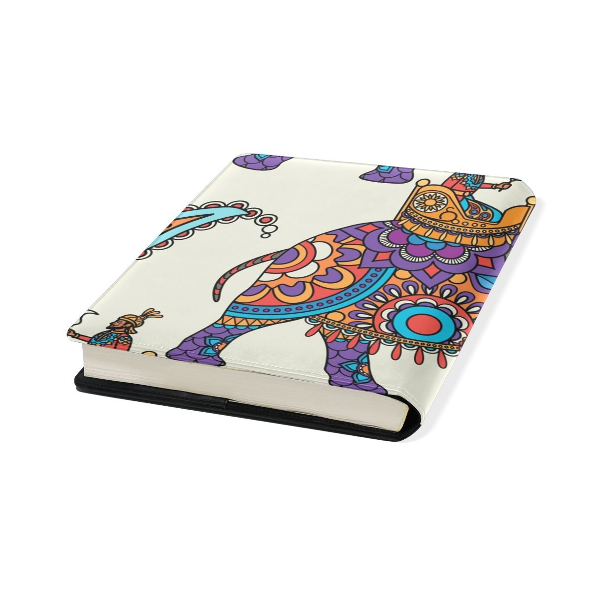 Sunlome Indian Elephant Floral Pattern Stretchable PU Leather Book Cover 9 x 11 Inches Fits for School Hardcover Textbooks