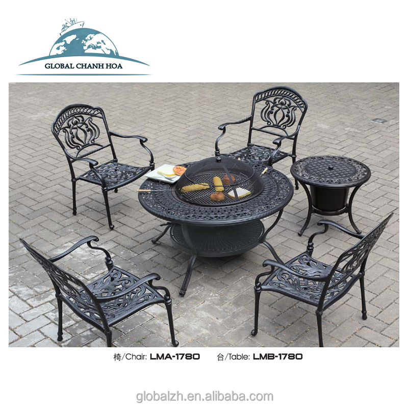Luxury Outdoor Patio Cast Aluminium Garden Furniture With Fire Pit