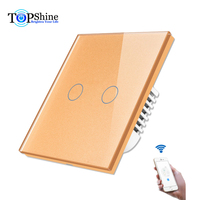 Topshine Wifi Electrical Switch 2 Gang Compatible With Amazon Echo Dot and Google Home For Voice Control For Home Automation