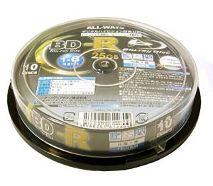 All-Ways BD-R 25GB 6X Speed Printable Blu-Ray Disc - 10 Pack Spindle