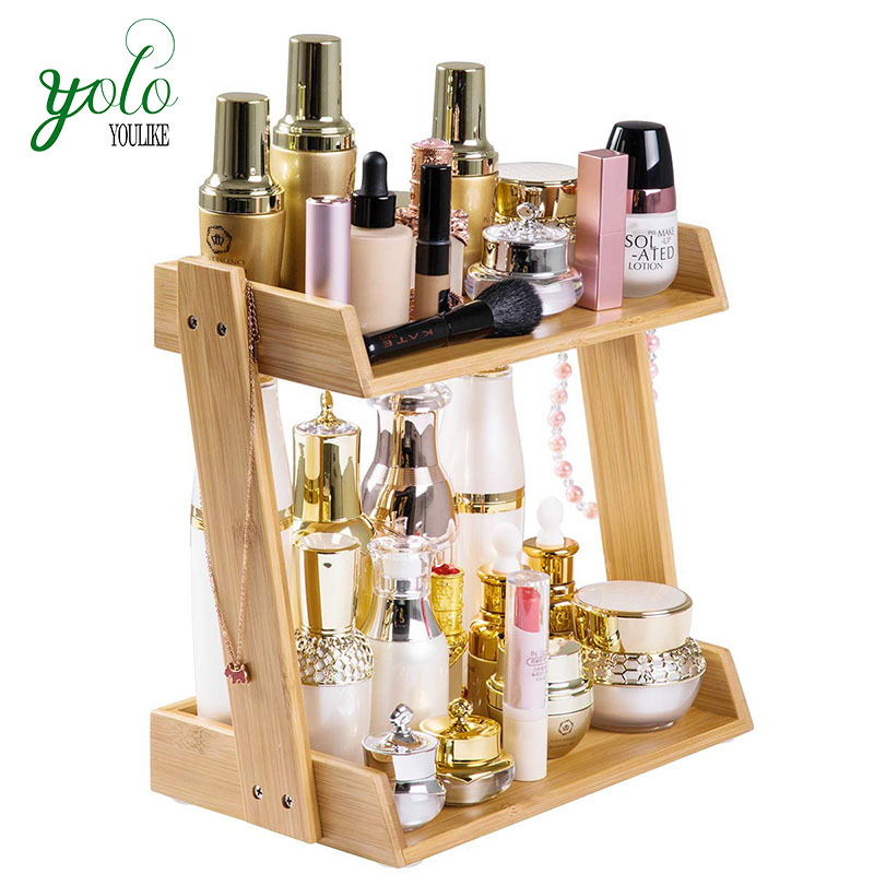 Counter Organizer Shelf Nature Bamboo Rotating Tier Makeup Storage for Bathroom, Vanity, Countertop