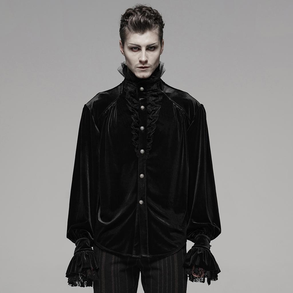 Punk Rave Black Gothic Elegant Vintage Velvet Tops Men S Long Sleeve Shirts Ebay