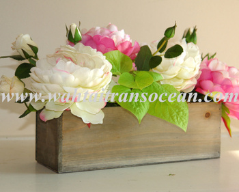Wood Bo Rectangular Weddings Flowers Centerpieces Planter Box Rustic Pot Vases