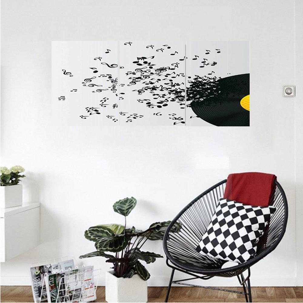 Liguo88 Custom canvas Music Decor Abstract Music Illustration Flying Music Notes Disc Album Dancing Nightclub Bedroom Living Room Decor
