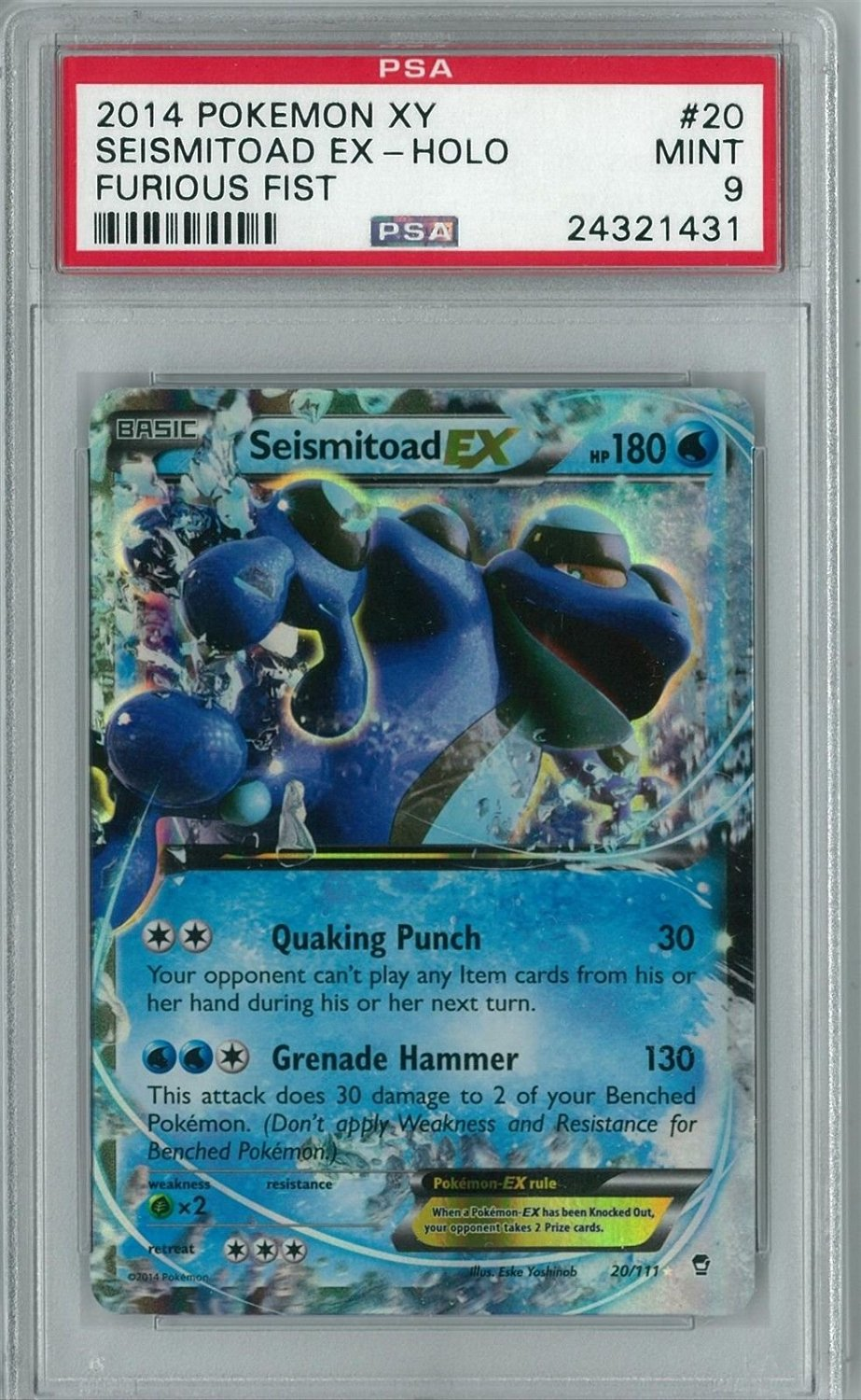 (Ship from USA) Pokemon XY Furious Fists Seismitoad EX 20/111 Holo Rare PSA 9 /ITEM#H3NG UE-EW23D159684