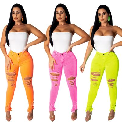 Female Denim Pants Candy Color Womens Jeans Ripped Stretch Bottoms Feminino Skinny Jeans Pant For Women Trousers фото