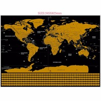 New Dropshipping Scratch Map Black Golden World Map Deluxe Erase Travel Wall World Map