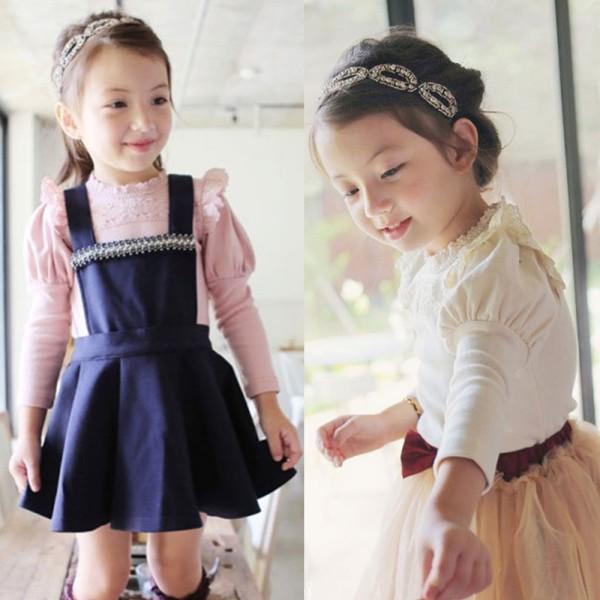 Мода детская одежда милашки дети ребенка с длинным рукавом кружева раффлед воротник хлопковые рубашки топы 0-4Y