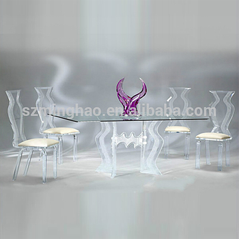 Elegant Acrylic Glass Dining Room Table Set And Chairs
