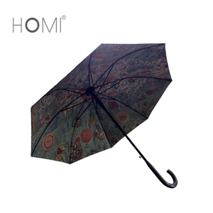 Hot Sale Flower Digital Full Printing Outdoor Hong Handle Straight Umbrella