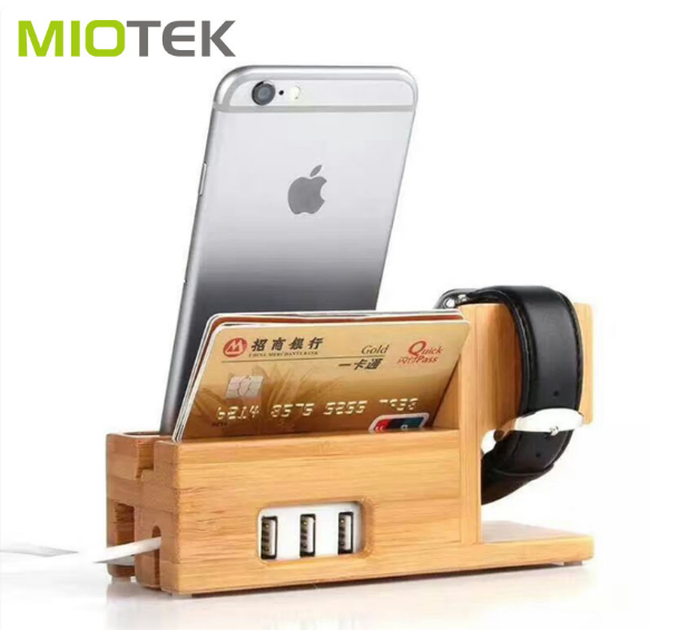 Smart Watch Charging Dock Wooden Moblie Phone Holder Docking Station ,bamboo wood usb charging station