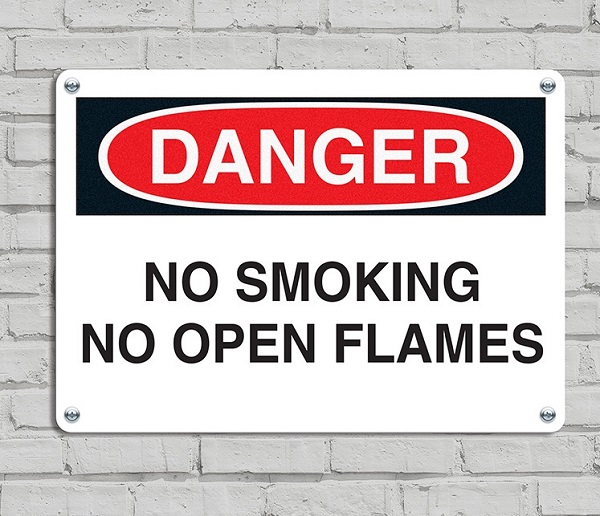No smoking no open flames Danger signs black and red painted 4 holes on corner